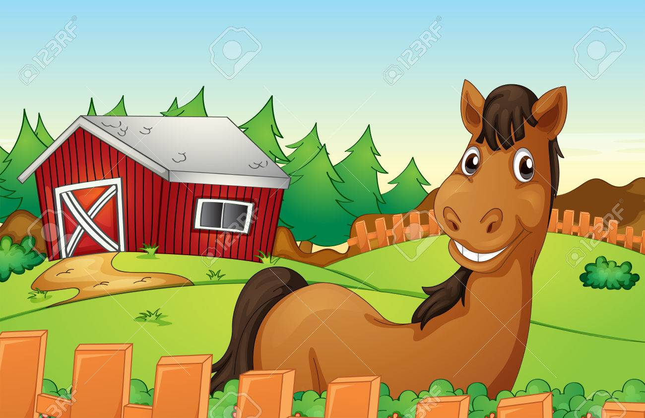 Illustration Of A Horse In Farm Stock Vector