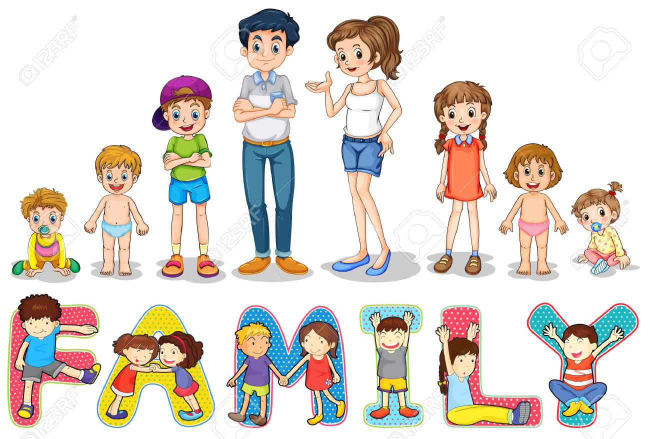 illustration of family members and wording royalty free cliparts rh 123rf com free clipart family members Kindergarten Clip Art Family Members
