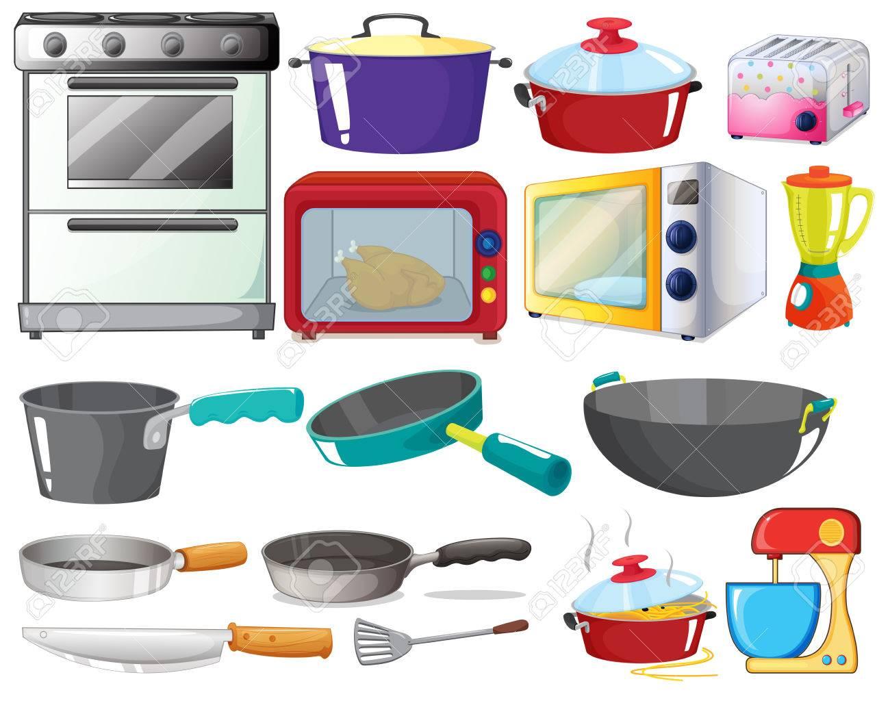Illustration of kitchen equipments stock vector 31216406