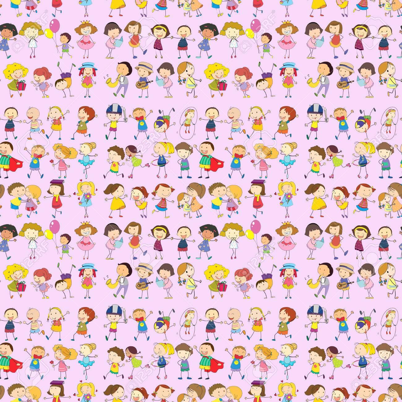 シームレスな子供の動きのイラストのイラスト素材ベクタ Image 31216302