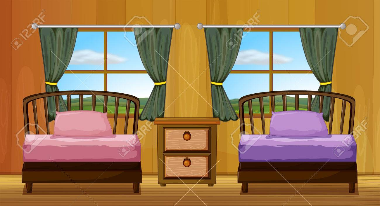 Illustration of a bedroom with two beds Stock Vector   31216163. Illustration Of A Bedroom With Two Beds Royalty Free Cliparts