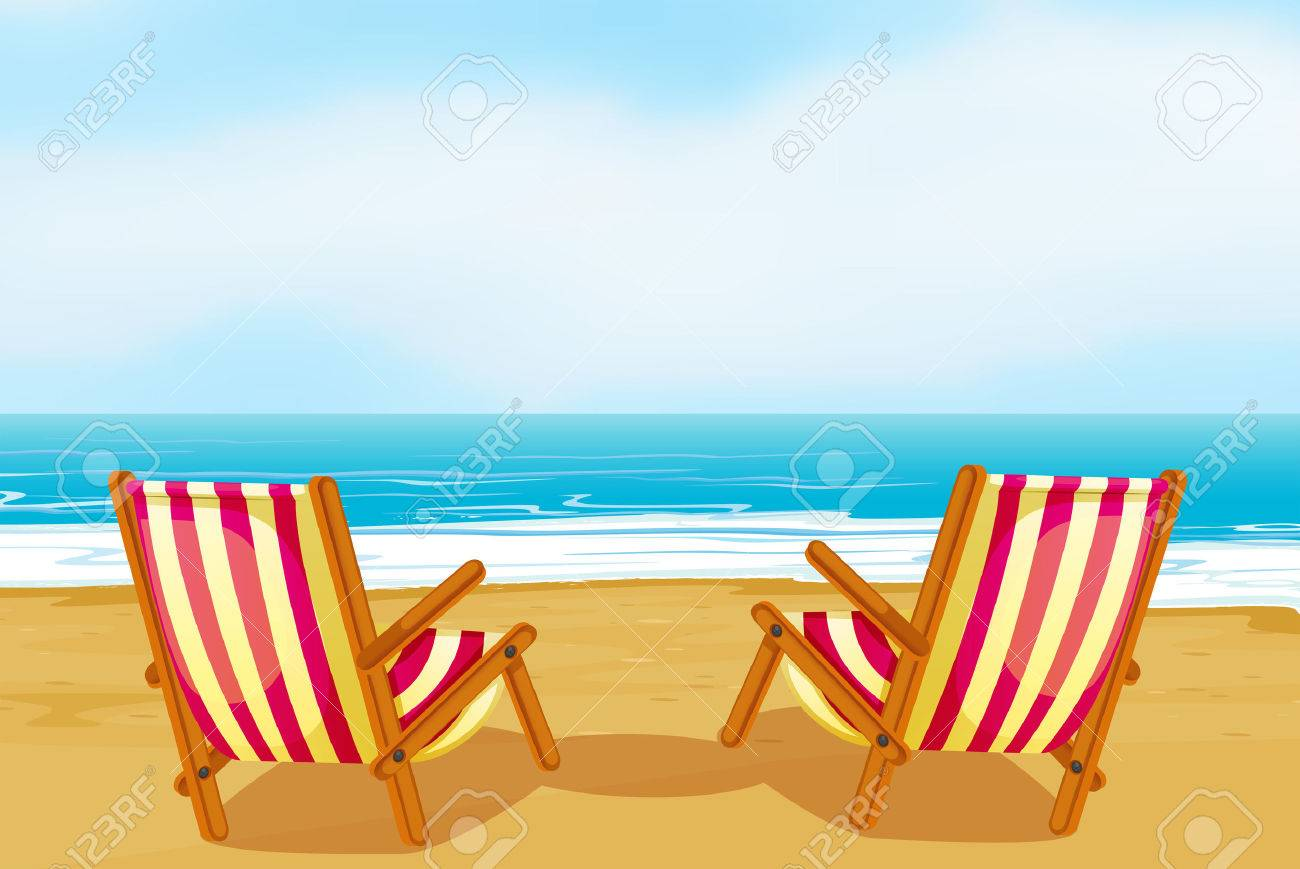 Beach chair on beach - Illustration Of Two Chairs On A Beach Stock Vector 31240130