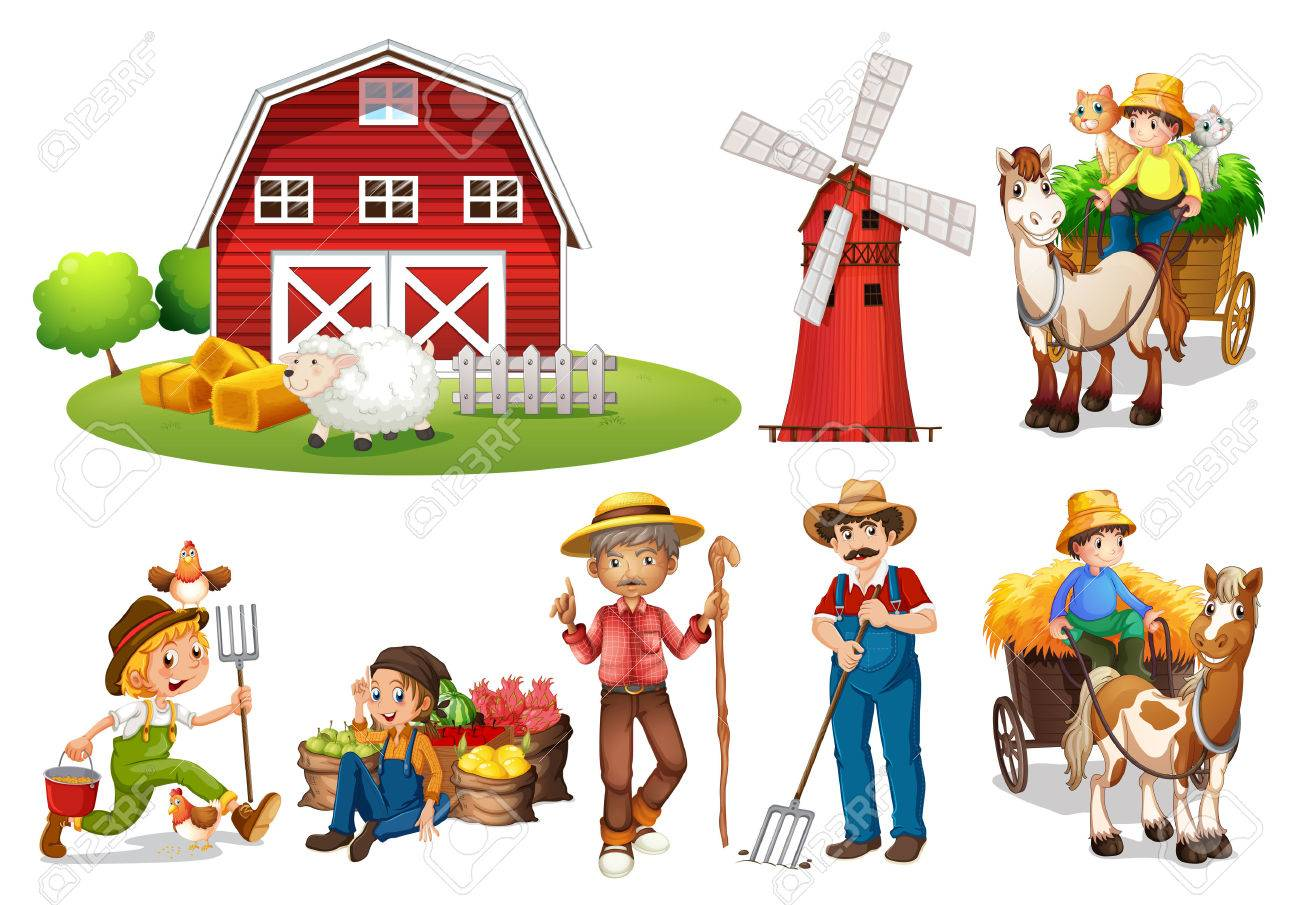 illustration of a set of farmers and a barn royalty free cliparts rh 123rf com clipart farmers market farmer clipart png
