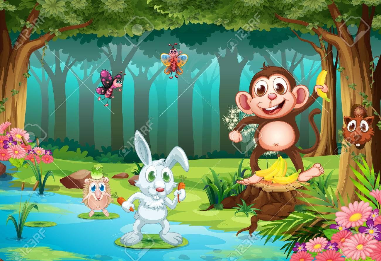 Illustration de beaucoup d'animaux dans une jungle Banque d'images - 31513836