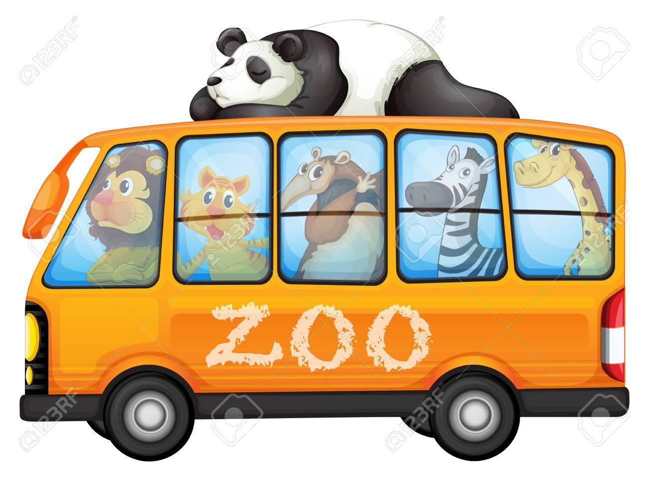 動物のバスのイラスト ロイヤリティフリークリップアート、ベクター