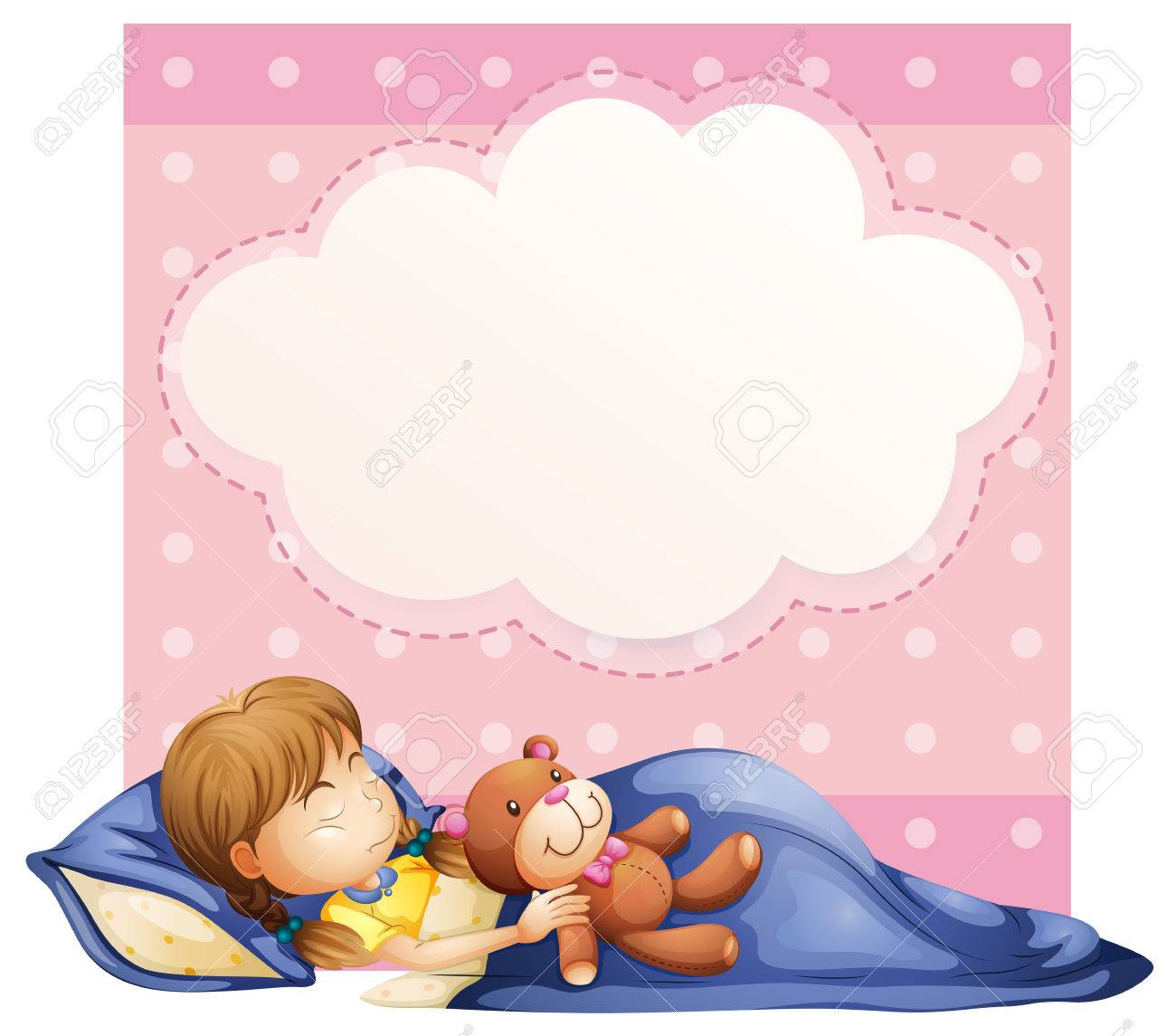 Illustration of a banner with a girl sleeping background - 31513959