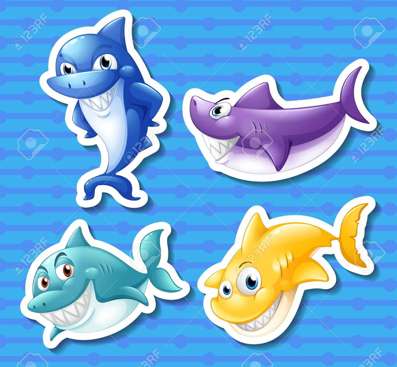 illustration of different color sharks royalty free cliparts