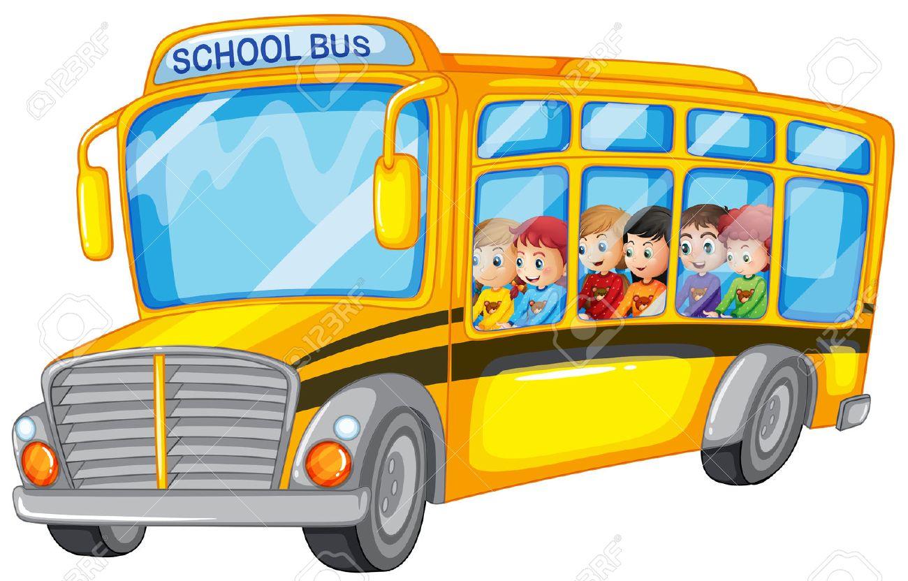 学校のバスの多くの子供たちのイラスト ロイヤリティフリークリップ