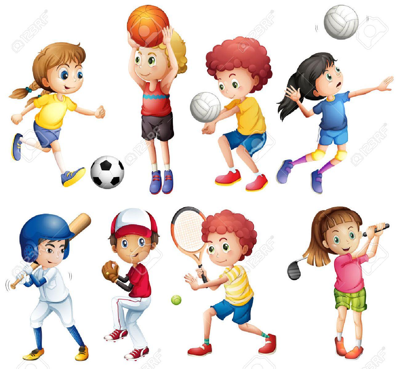 スポーツをやっている多くの子供たちのイラスト ロイヤリティフリー