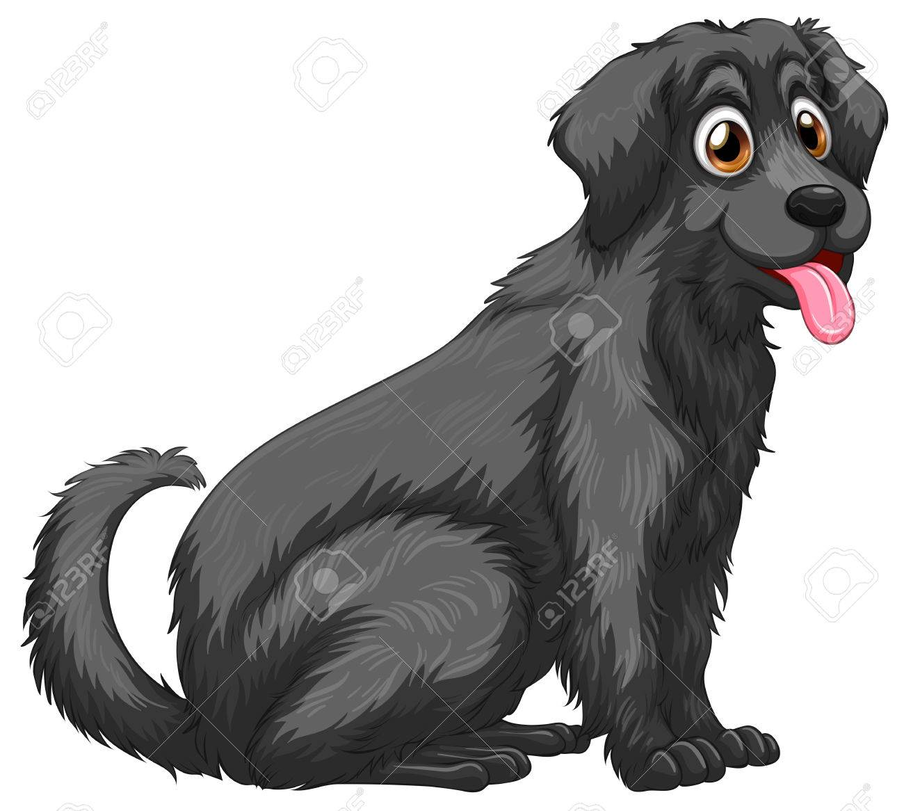 illustration of a close up black dog royalty free cliparts vectors rh 123rf com black white dog clipart black dog bone clipart