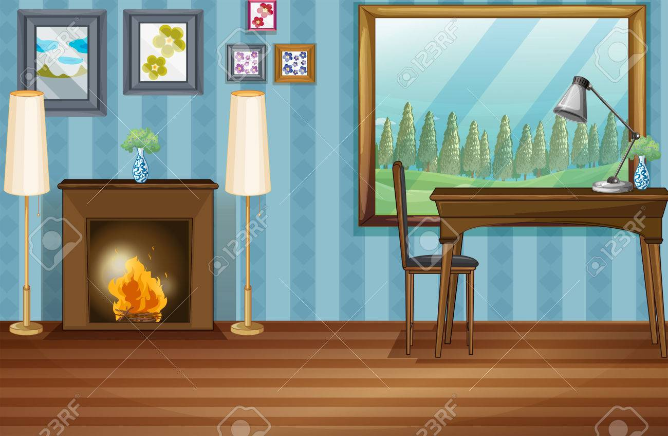 illustration of a study room with fireplace royalty free cliparts
