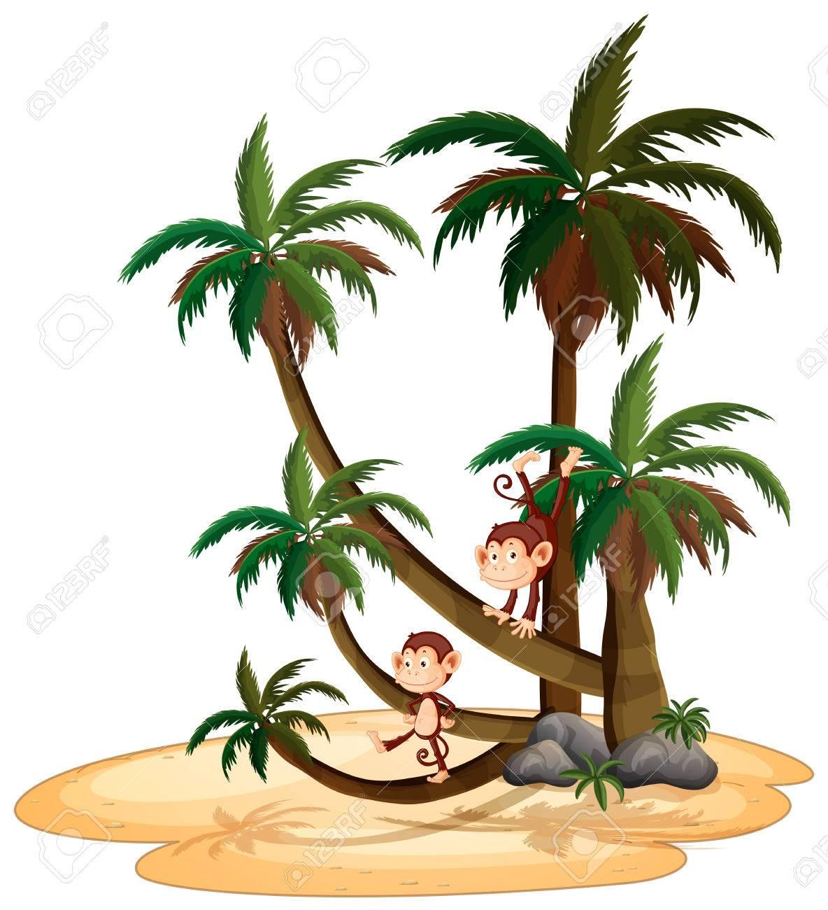 木に登って猿のイラストのイラスト素材ベクタ Image 32958459