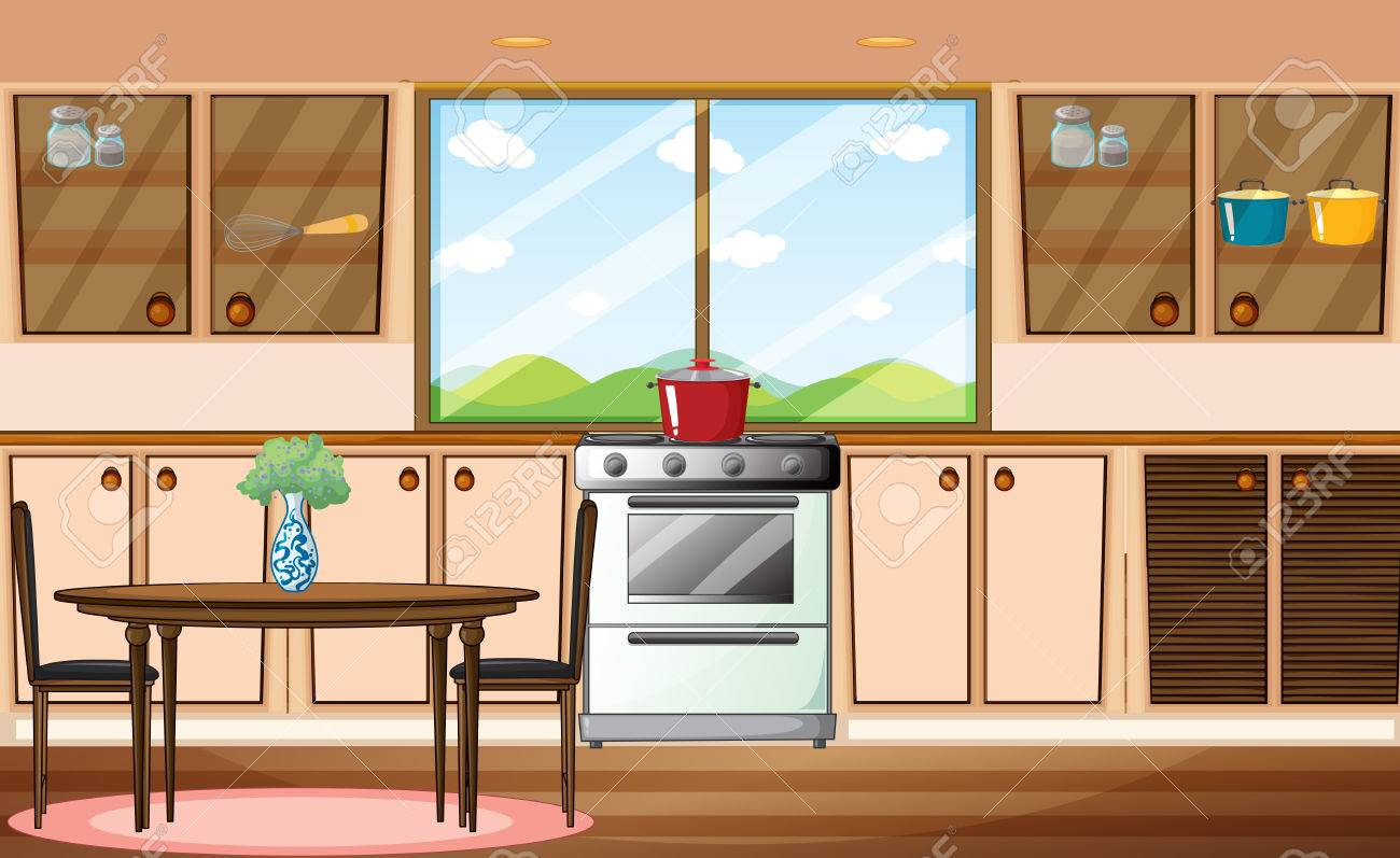 Cartoon kitchen with cabinets and window vector art illustration - Illustration Of A Classic Pantry Stock Vector 32958597