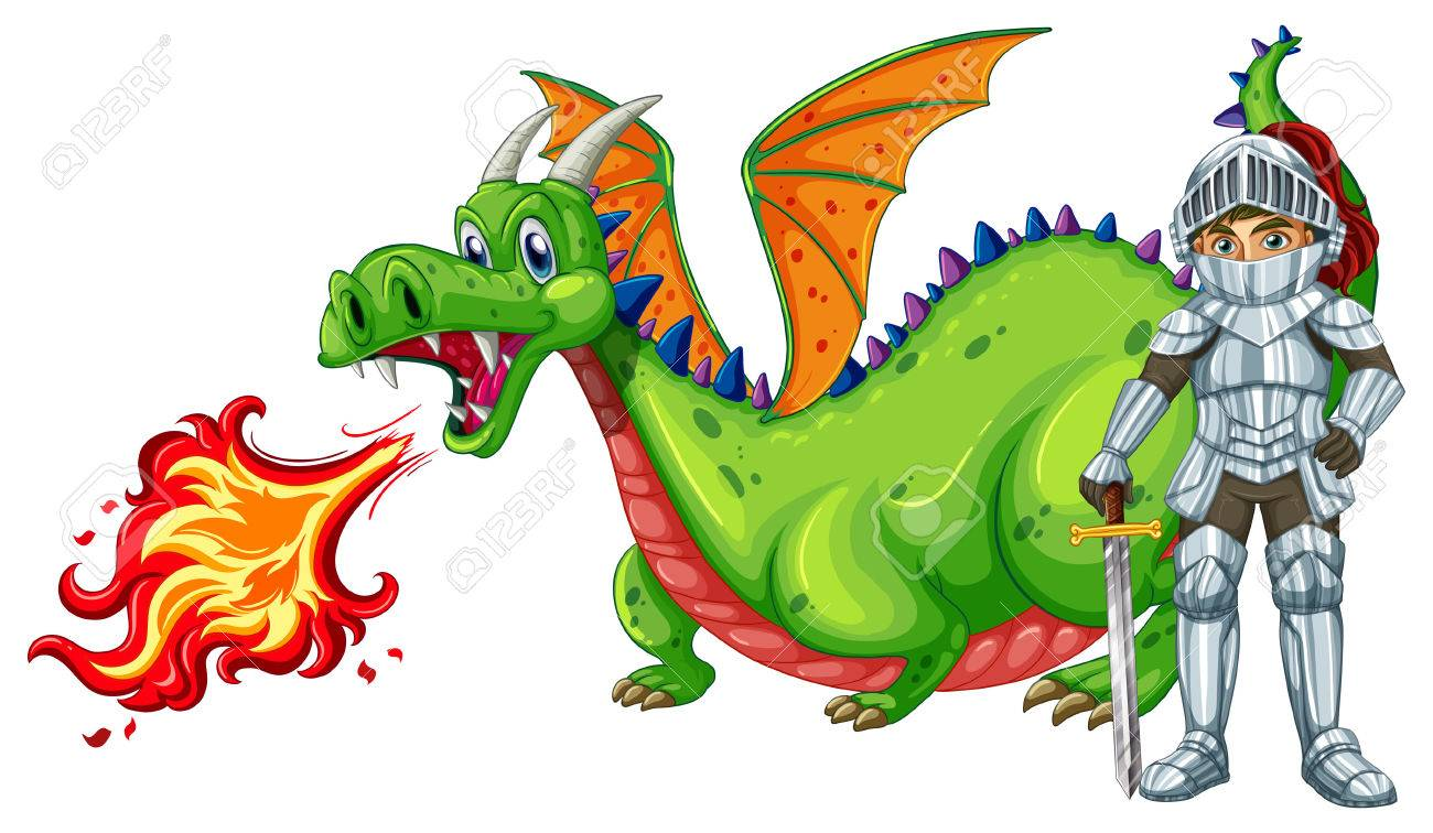 Illustration Of A Dragon And A Knight Royalty Free Cliparts ...