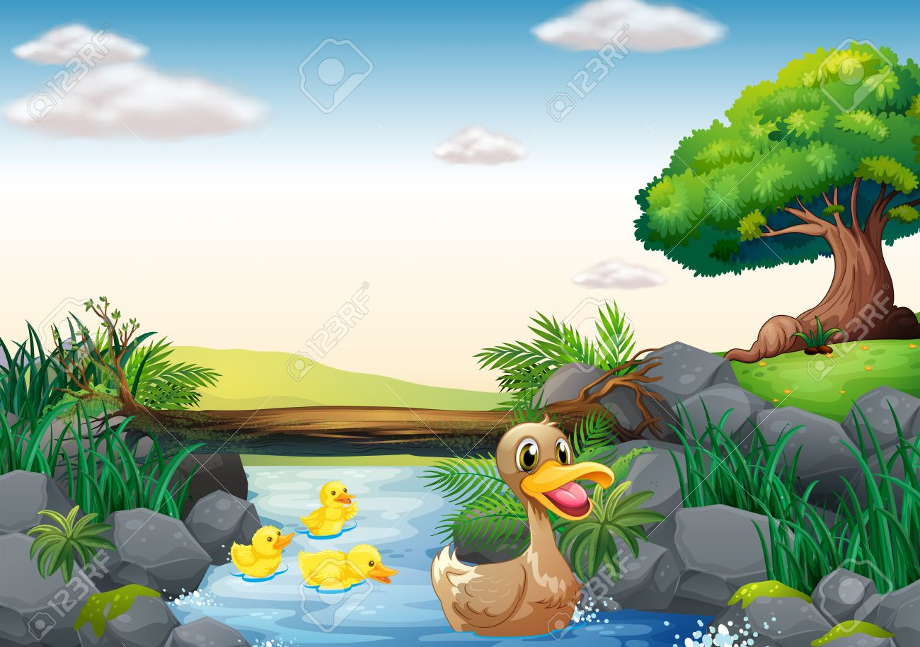 illustration of ducks swimming in the river royalty free cliparts