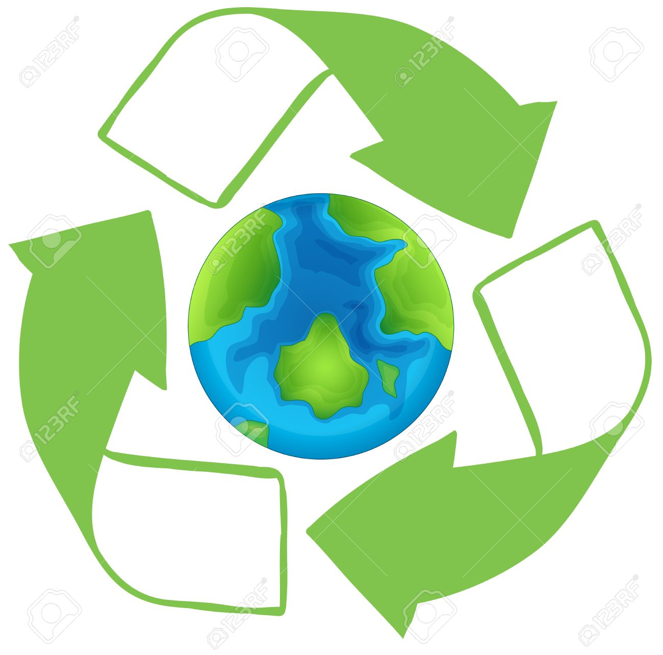Earth In The Middle Of A Recycle Symbol Royalty Free Cliparts