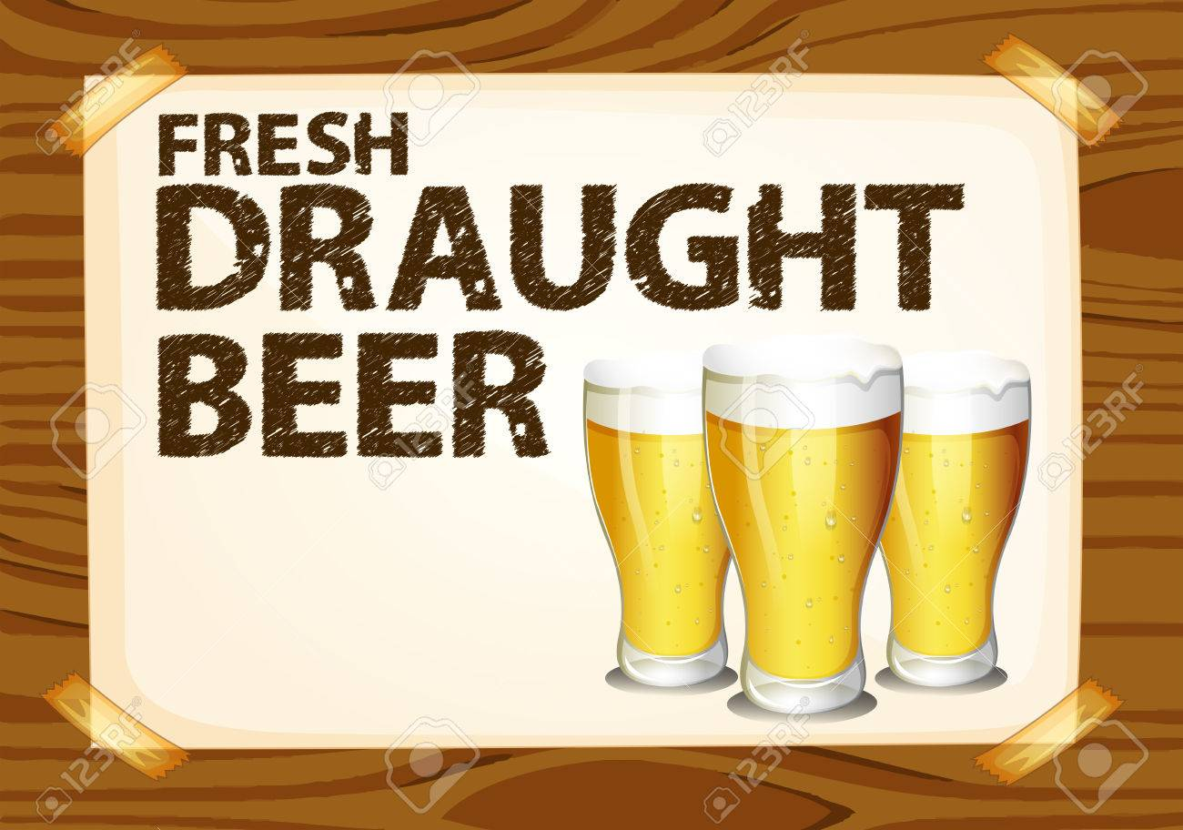 Fresh Draught Beer Poster On Wood Stock Vector