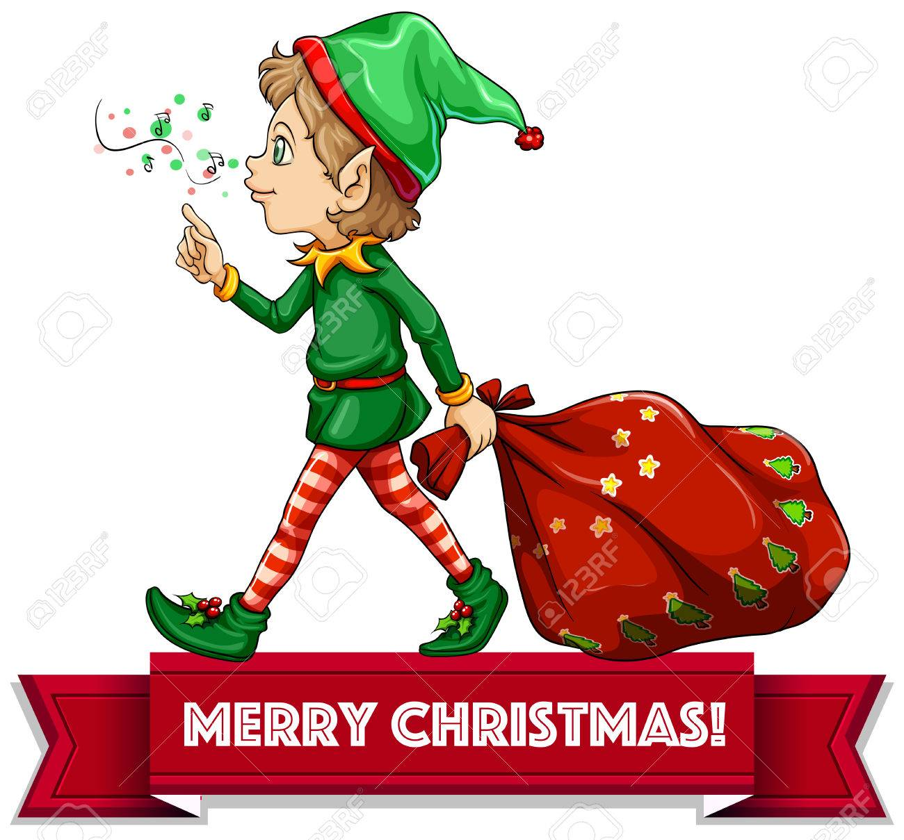 Merry Christmas With Elf And Sack Of Toys Royalty Free Cliparts ...