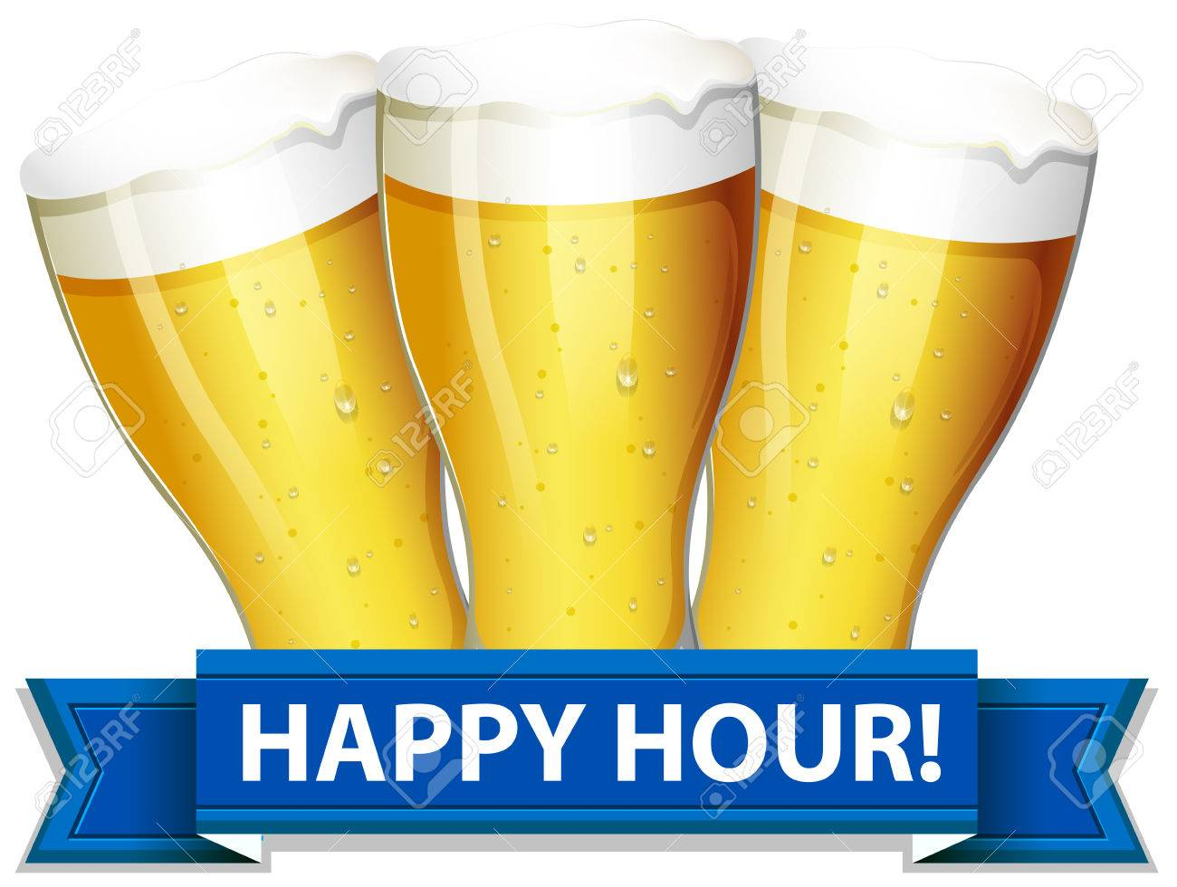 A Happy Hour Template With Glasses Of Beers On A White Background ...