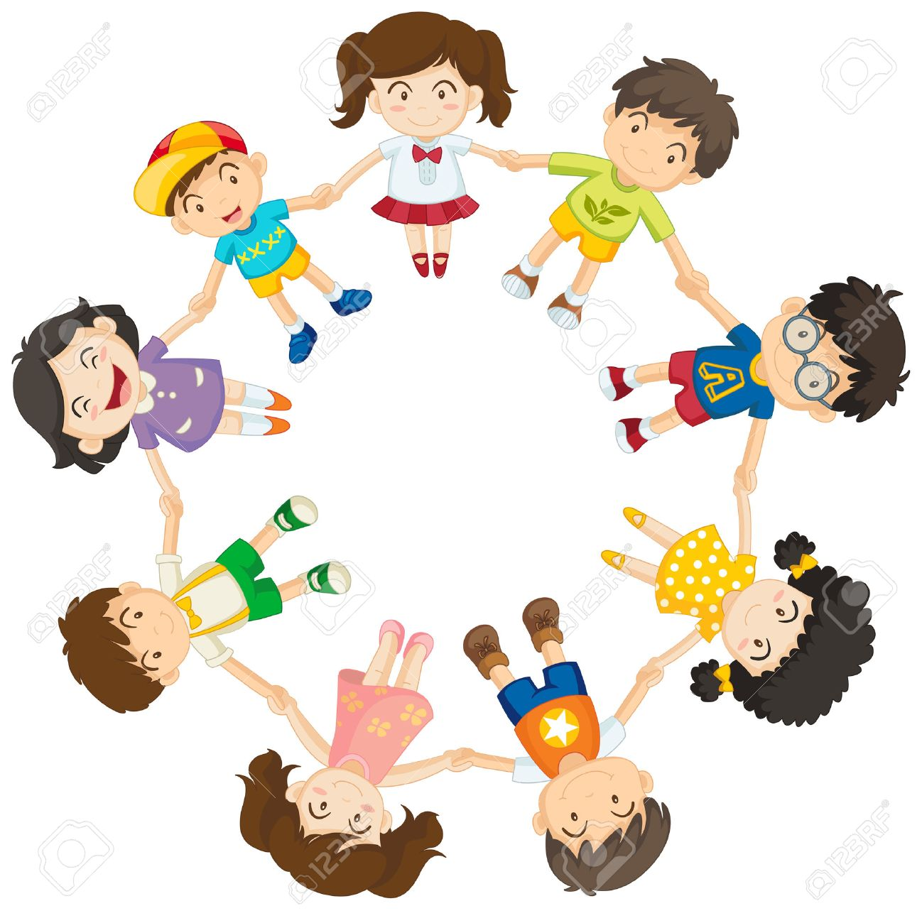 Kinderkreis clipart  Kinder Hand In Hand In Einem Kreis Lizenzfrei Nutzbare ...