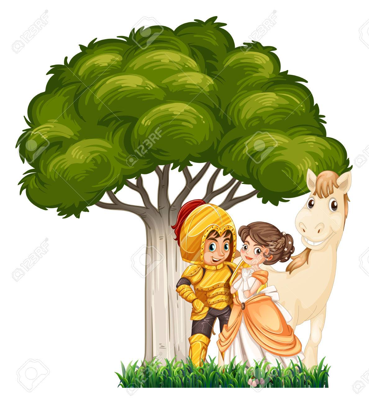 A soldier and his lover with a horse under the tree on a white background - 34280782