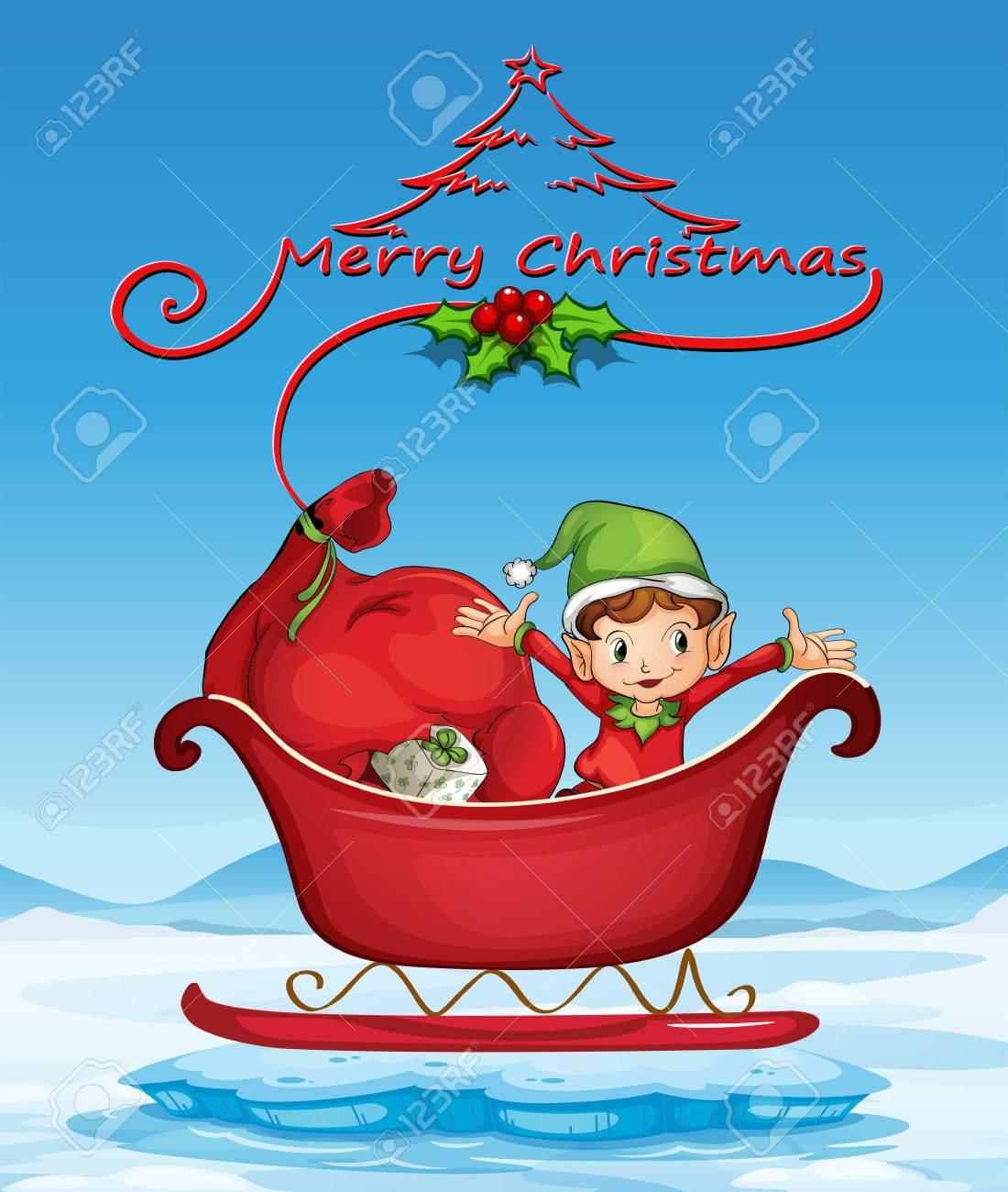 illustration of a christmas card with an elf on a sledge stock vector 34641012 - Elf Christmas Card