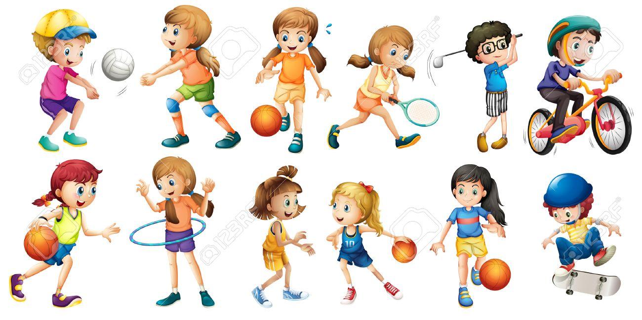 さまざまなスポーツをやっている子供たちのイラスト ロイヤリティ