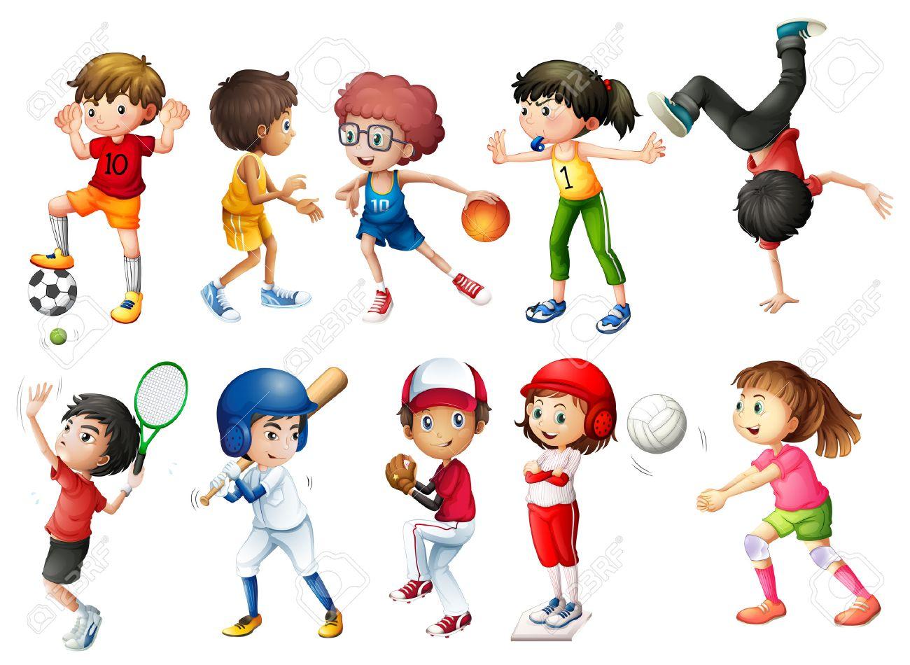 子供スポーツのイラスト ロイヤリティフリークリップアート、ベクター