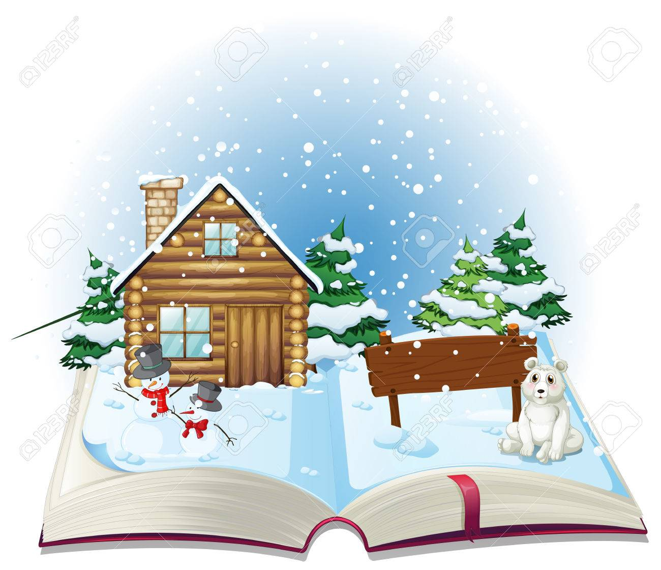 Illustration Of A Popup Book Winter Stock Vector