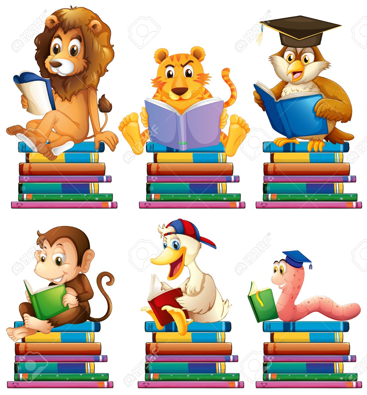 illustration of animals reading books royalty free cliparts vectors