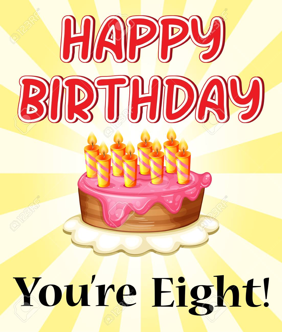 Illustration Of A Birthday Card With Cake And Eight Candles Royalty