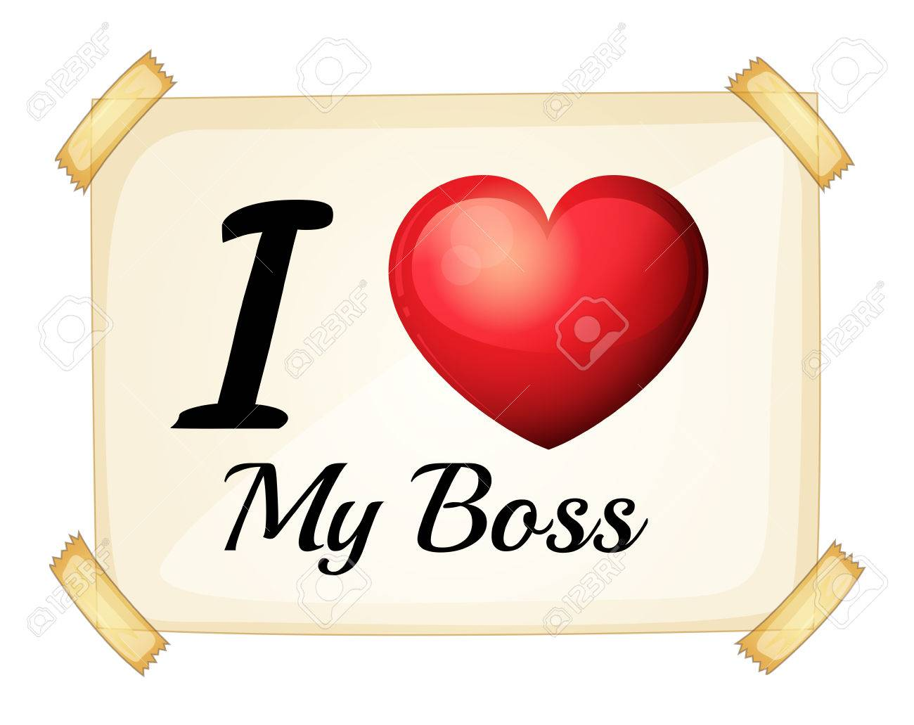 Illustration Of I Love My Boss Sign Stock Vector