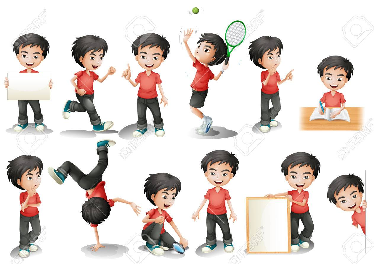Illustration Of A Black Hair Boy In Different Position Royalty Free