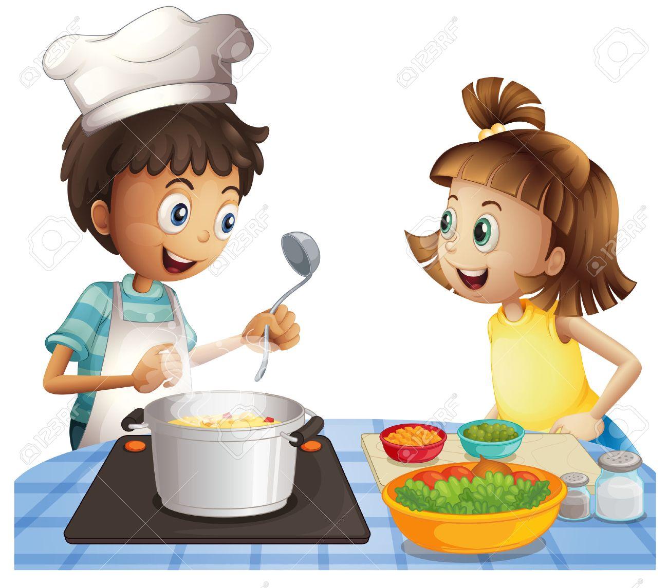 Ilustración De Dos Niños Cocinar Ilustraciones Vectoriales Clip Art