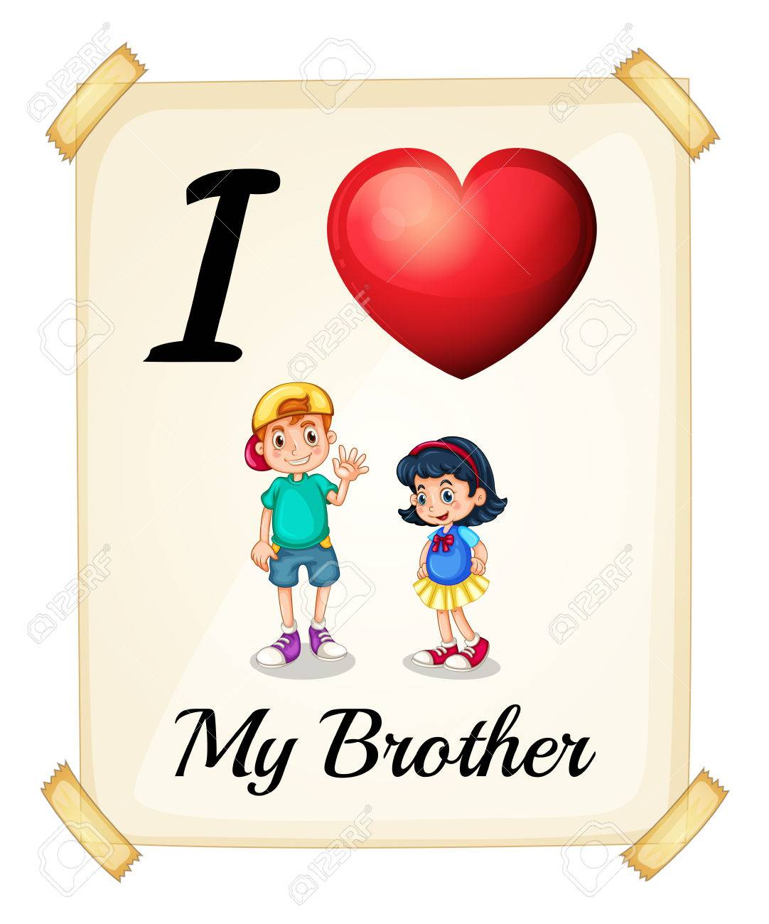 illustration of i love my brother sign stock vector 36011835