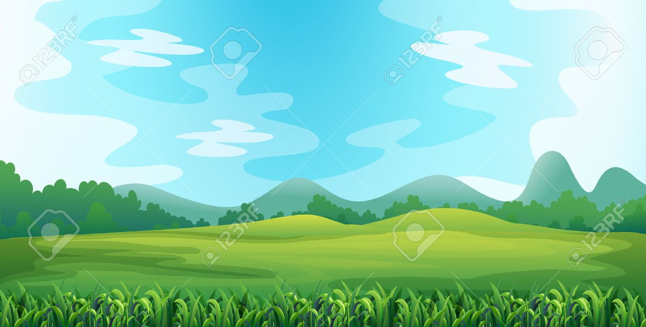 Illustration of a green field - 36430685