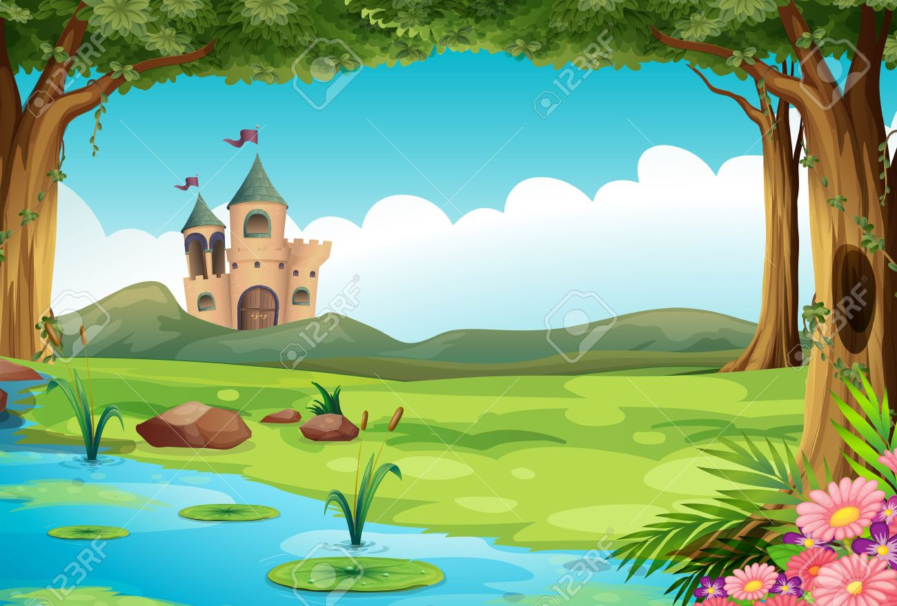 Illustration of a castle and a pond - 36769882