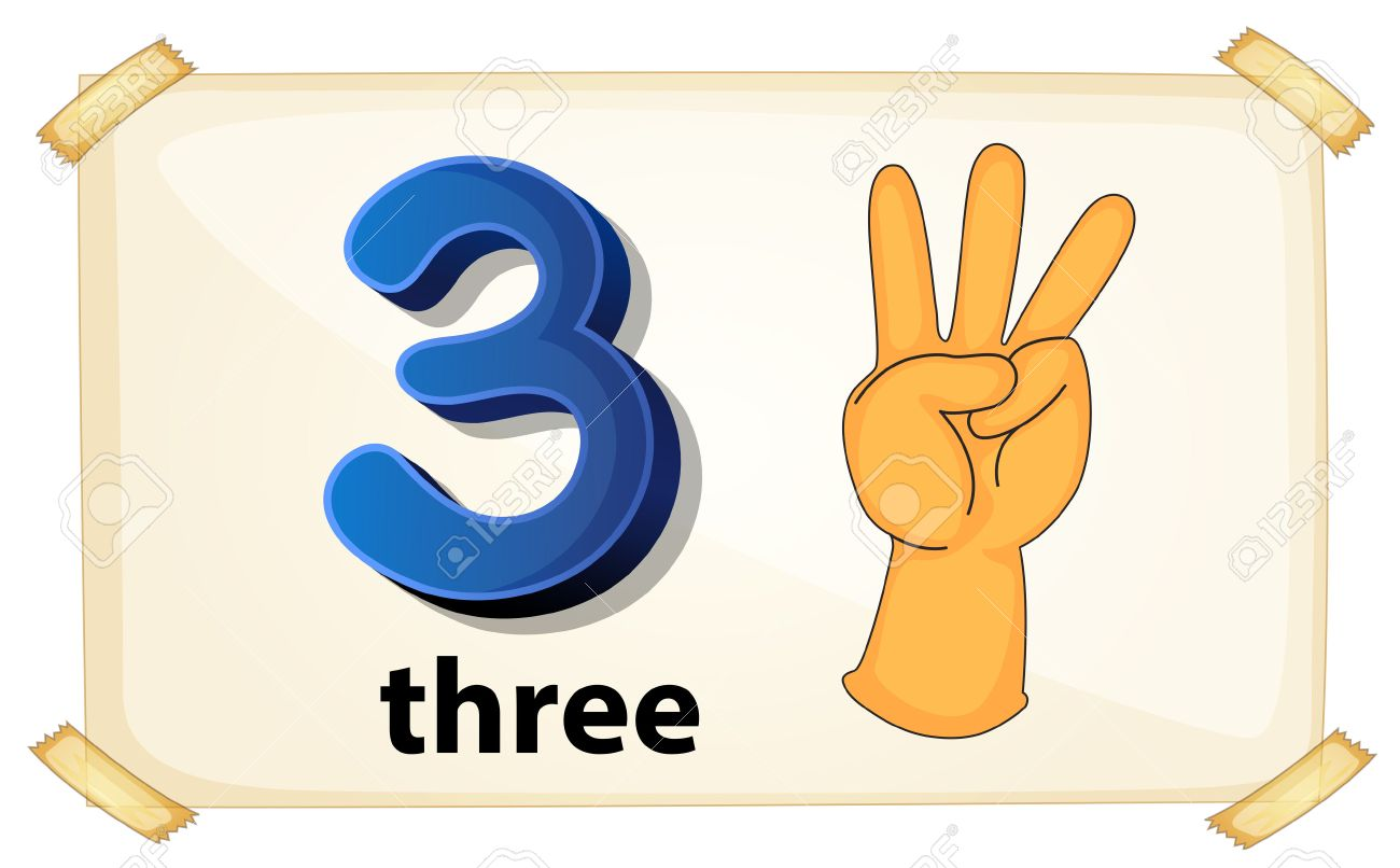 illustration of a flashcard number three royalty free cliparts rh 123rf com three clipart of summer three clipart buses