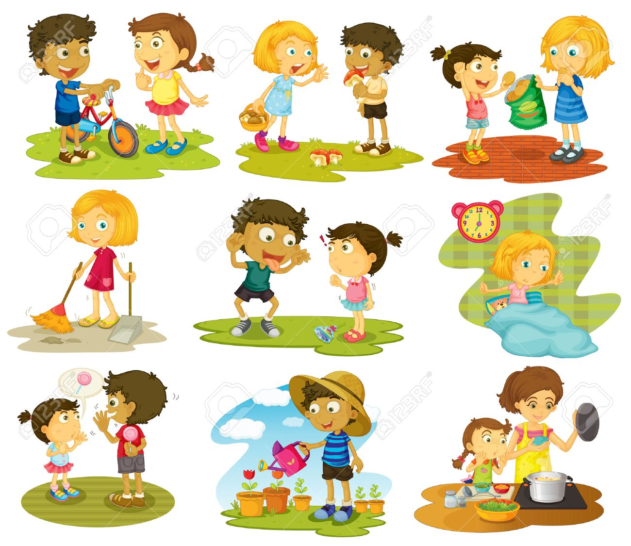 Illustration Of Many Children Doing Chores And Activities Royalty