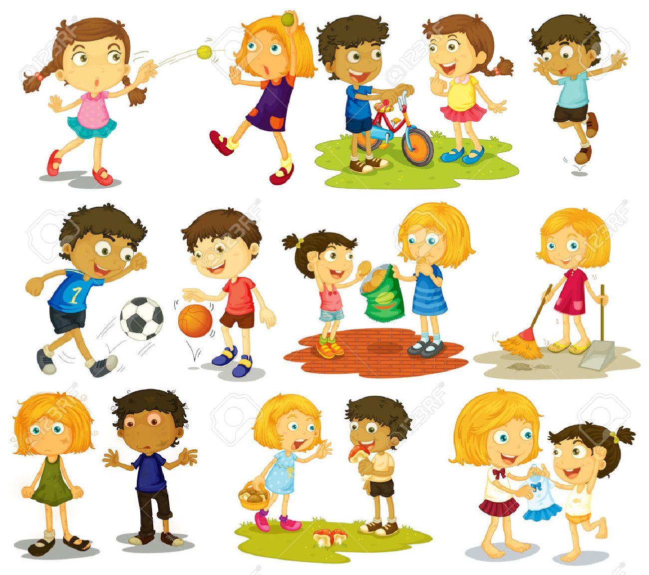 種類のスポーツや活動をやっている子供たちのイラスト ロイヤリティ
