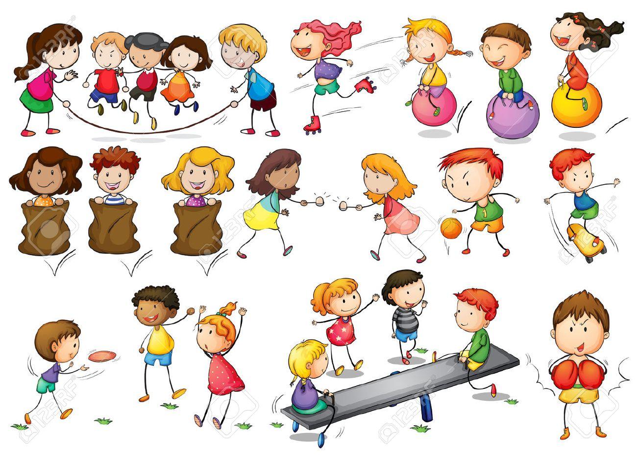 Ilustración De Niños Jugando Y Haciendo Actividades Ilustraciones ...