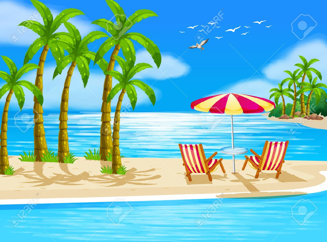 Beach chair with umbrella painting - Illustration Of Beach View With Chairs And Umbrella Stock Vector 37013390
