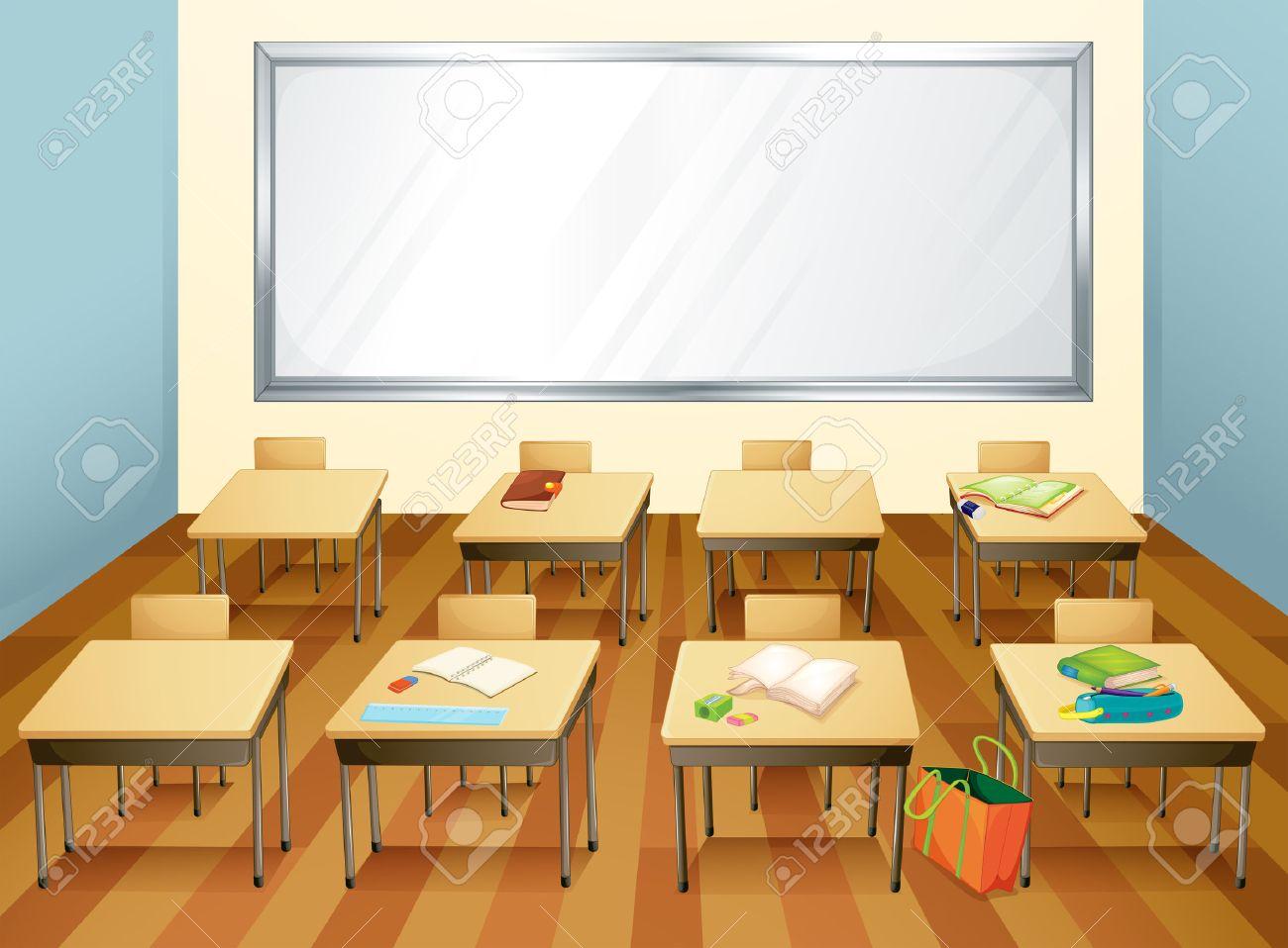 Klassenzimmer clipart  Leeres Klassenzimmer Mit Stationären Auf Den Tischen Lizenzfrei ...
