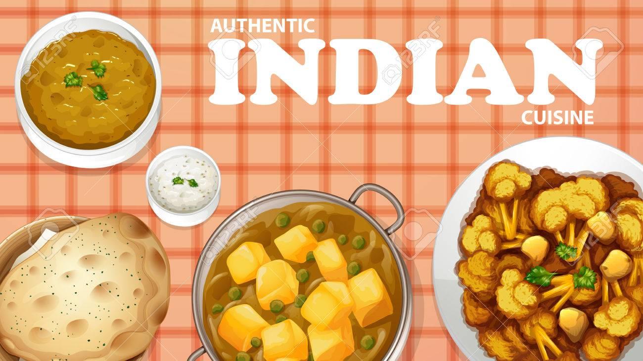 Authentische Indische Küche Auf Der Speisekarte Lizenzfrei Nutzbare ...