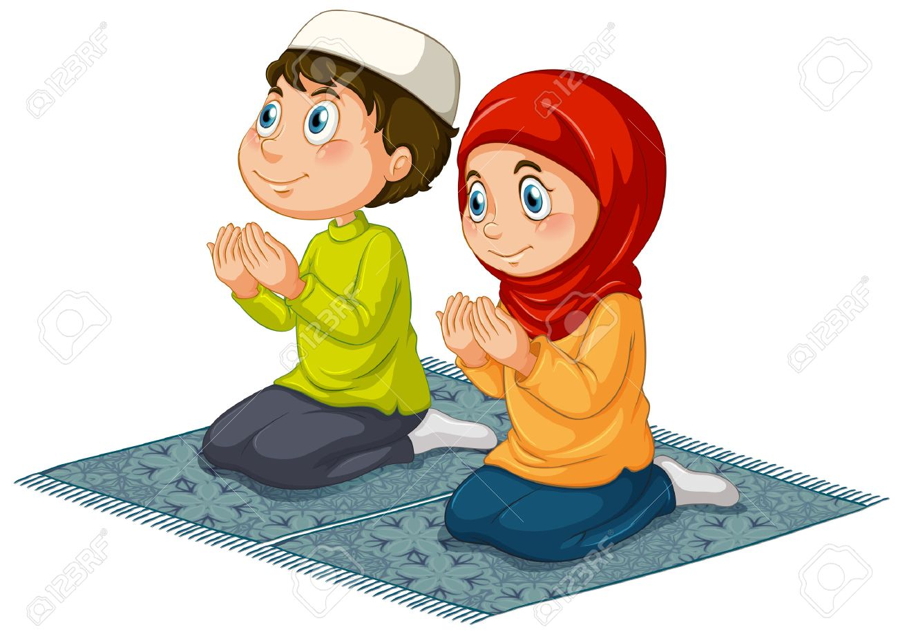 Two muslims praying on the carpet illustration