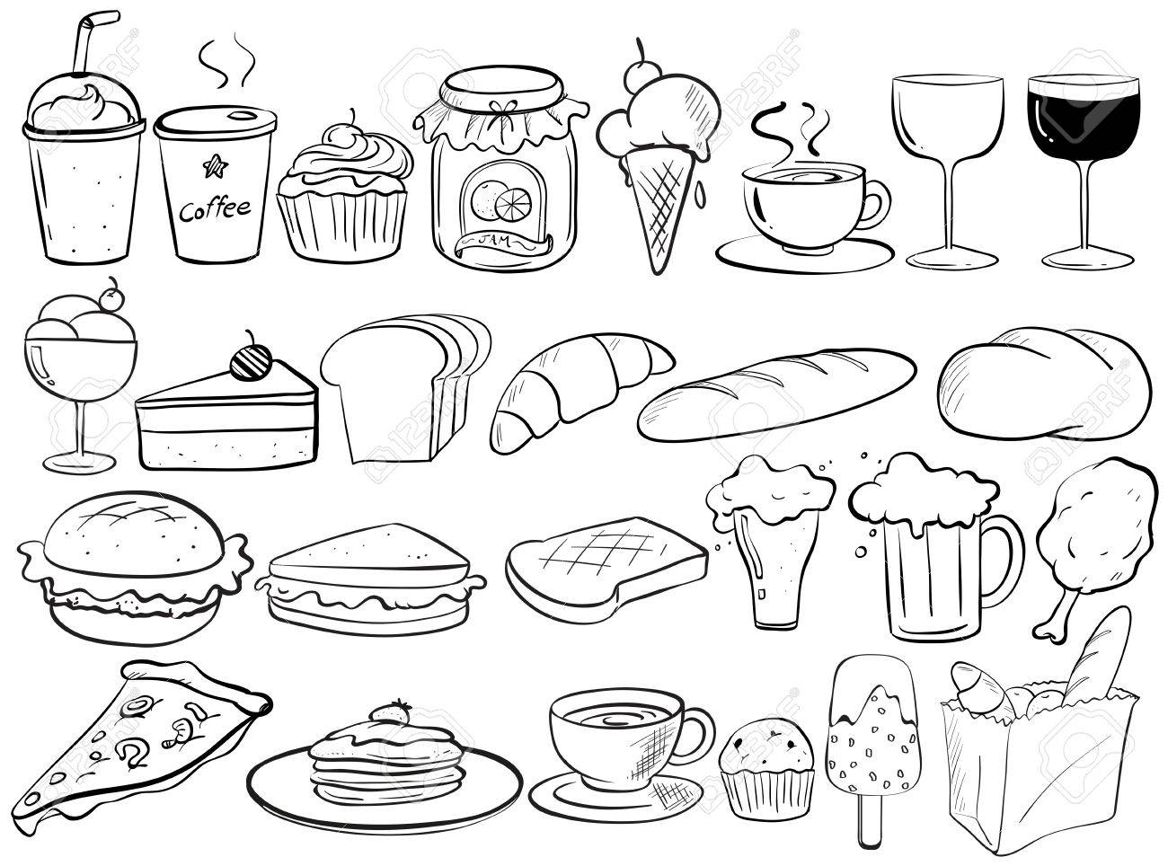 Different Kind Of Food Doodles Royalty Free Cliparts Vectors And