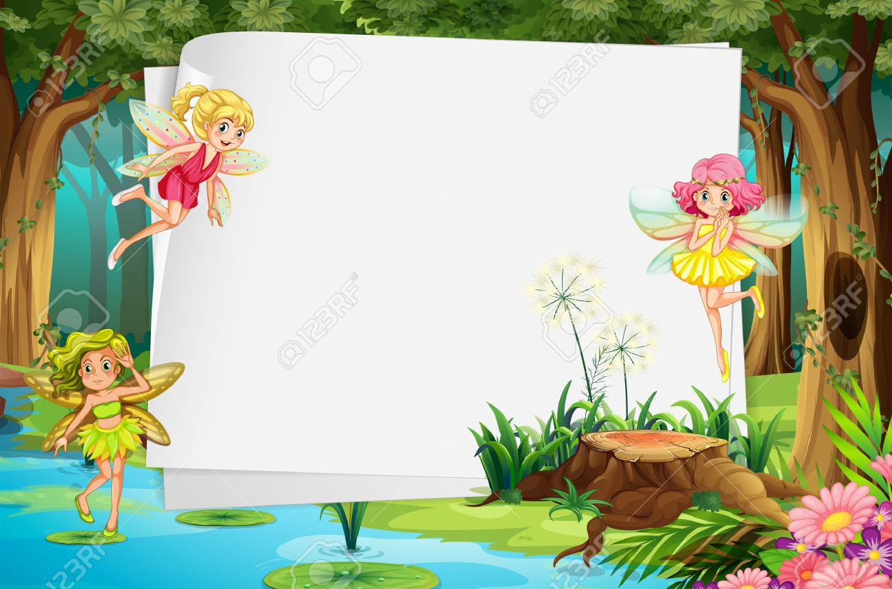 Fairies flying in the forest and a blank sign - 37818332