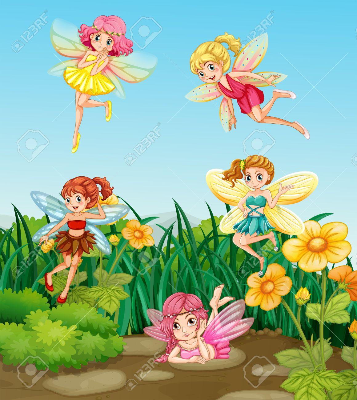 Beautiful garden cartoon - Beautiful Fairies Flying In The Garden Stock Vector 37818338