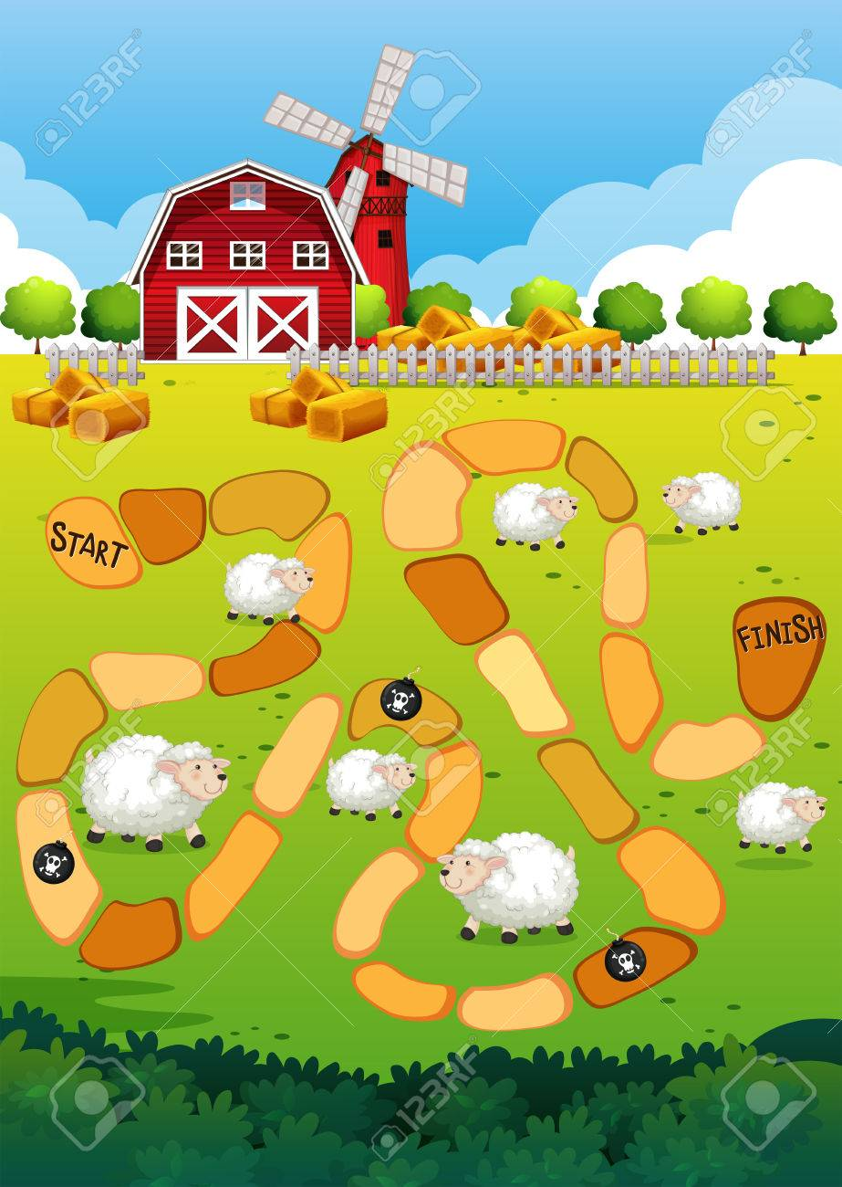 Game Template With View Of Farm In The Background Royalty Free ...
