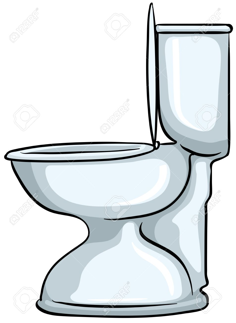 Close Up Toilet With The Lid Opened Stock Vector